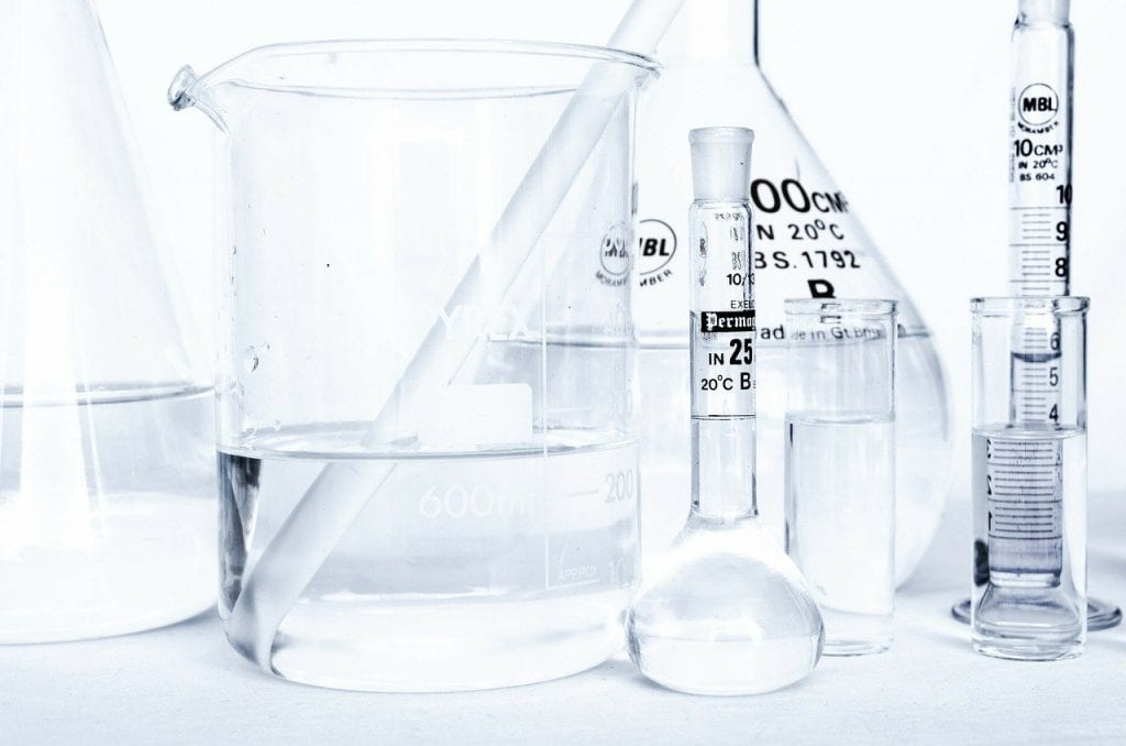 beakers and tubes with water in them